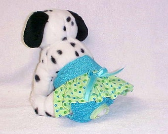 Female Dog Diaper Panties Pet Wrap Doggie Britches Skirt Size XSmall To XLarge Teal With Green Skirt