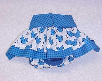 Female Dog Diaper Skirt Britches Doggie Panties Pet Wrap Size XSmall To 5XLarge Singing Blue Birds