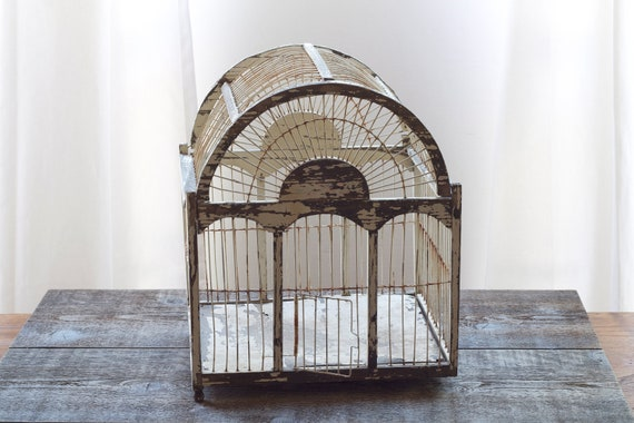 reserved for Erica - vintage wood birdcage : white chippy paint shabby chic by 24pont