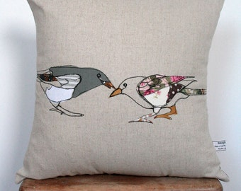 Appliqued Bird Cushion