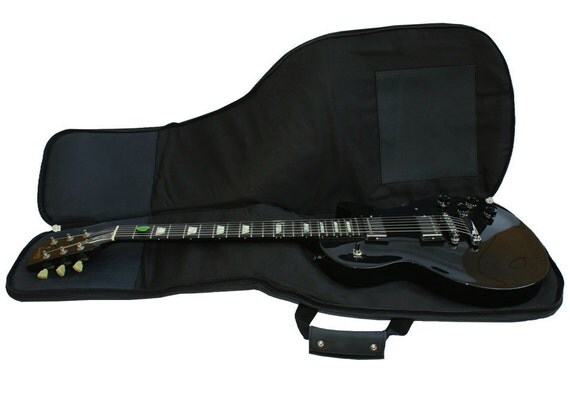 Leather Guitar Case, Gig Bag Backpack - Distressed Charcoal Black, Hand Crafted
