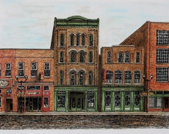 "Nashville Tennessee Architectural Art Pastel Pen and Ink Streetscape Original Brown Green Home Wall Decor 16""x12"" Urban Art"