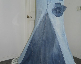 Belle Bohémienne bohemian ballroom jean skirt  Renaissance Denim Couture fairy goddess mermaid altered couture