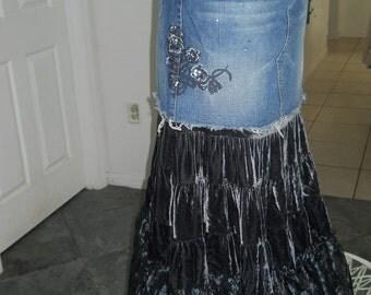 Belle de Nuit bohemian mermaid jean skirt silk velvet black ruffled vintage lace mermaid goddess Renaissance Denim Couture Made to Order