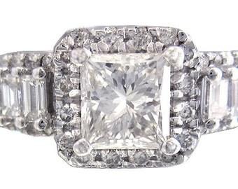 18k white gold princess cut diamond engagement ring prong set 1.64ctw