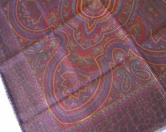 Paisley Scarf / Jewel Tones and Metallic Thread / Table Cover / Made in Italy