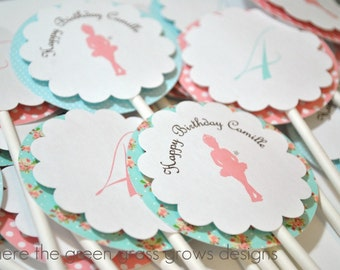 Shabby Chic Ballet Cupcake Toppers