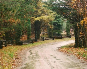 Fall Colors Along A Country Roadway Woven Split Rail Fence Landscape Photography on Blank Note Card Autumnal Colours All Occasion Card