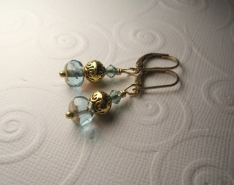 Gold and Aqua Picasso Czech Glass and Swarovski Crystal Lever Back earrings-made to order