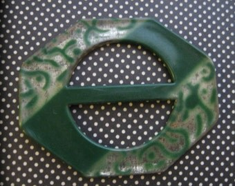 New Old Stock...Circa 1920 Celluloid Buckle...green and silver print...art deco