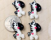 12pcs 27mm Wild For Zebra Heart Valentine Love MTM Flatback Resin Cabochon