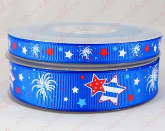 "10 yards 7/8""~3/8"" Royal Blue Firework Star Patriotic 4th Of July Grosgrain Ribbon"