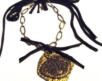 Brass and Copper Tone Taurus Pendant - Horoscope Jewelry, Chunky Brass Chain, Taurus Birthday, Bull, Huge Pendant, Statement, OOAK