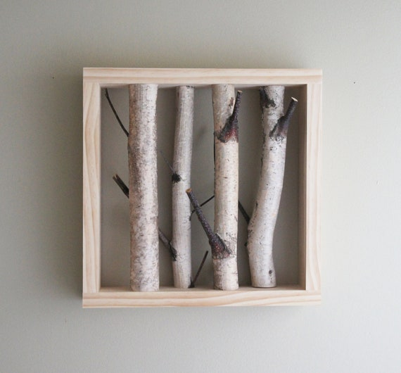 natural white birch forest wall art - 12x12