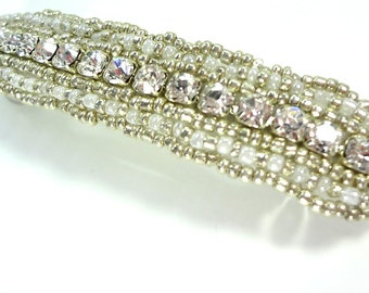 Beaded Crystal Rhinestone Barrette - Perfect for Brides at Weddings