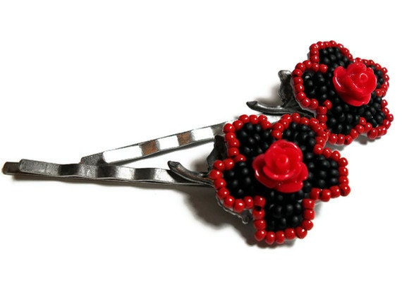 Rose Bobby Pins in Red and Black on Dark Pewter Metal Pins - Original Beadwoven Hair Accessories - Set of 2 Pins