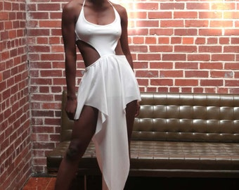 White Teardrop Halter Dress