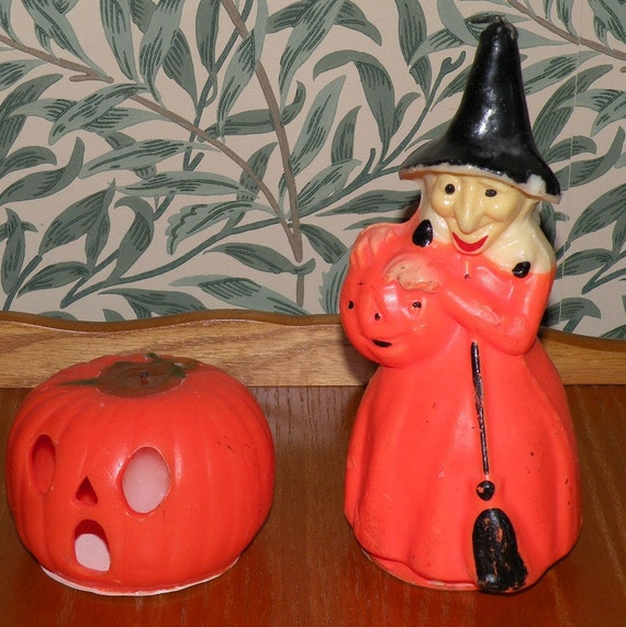 2 1950s HALLOWEEN Gurley Pumpkin and 9 inch Witch Candles