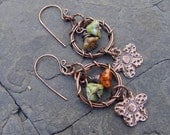 Copper Wreaths - Flowers Handmade Copper Clay, Wreath and Glass Earrings Boho, Gypsy, Tribal, Beach