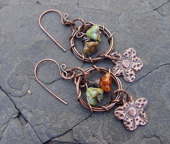 Copper Wreaths - Flowers Handmade Copper Clay, Wreath and Glass Earrings Boho, Gypsy, Tribal, Beach
