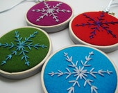 Snowflake Hoop Art - four hand embroidered snowflakes in 3 inch hoops, pure wool felt ornaments, winter decoration, Christmas, holiday decor