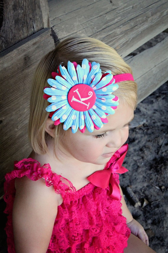 Personalized Monogram Initial Turquoise and White Polka Dot Daisy Hair Flower Clip and Headband Set -  HOT Pink Button and Headband