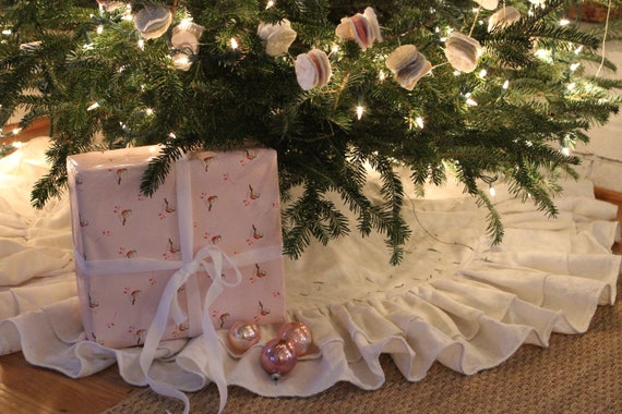 60 Inch Ruffled Linen Double Ruffled Christmas Tree Skirt