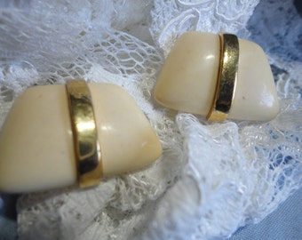 Bold Ivory and Gold Enamel Vintage Clip on Earrings