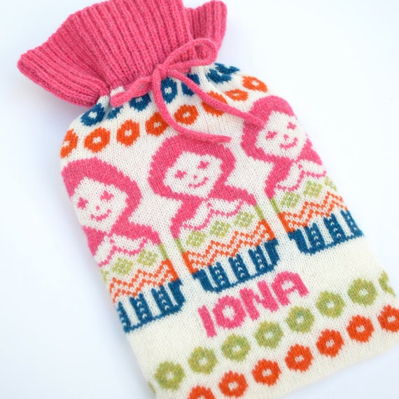 Personalised Knitted Russian Doll Knitted Hot Water Bottle