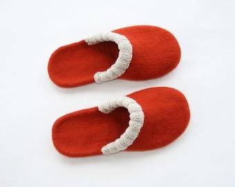 Woman slippers - women house shoes felted slippers handmade tangerine - Christmas gift - Easter gift