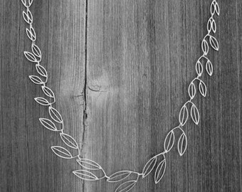 Olive Branch Necklace, Linked tapered leaves, Hand-made to order, Custom clasp, Choose your metal, Length 18""