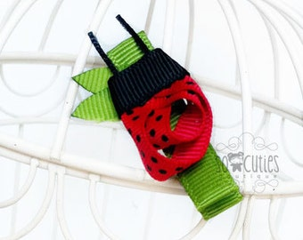 Itsy Bitsy Lady Bug ribbon sculpture hair clip / baby hair clip / girl barrette.