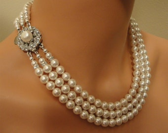 Bridal Pearl Necklace Set 3 multi Strand pearls like  Jackie O in choice of color perfect  wedding jewelry sets