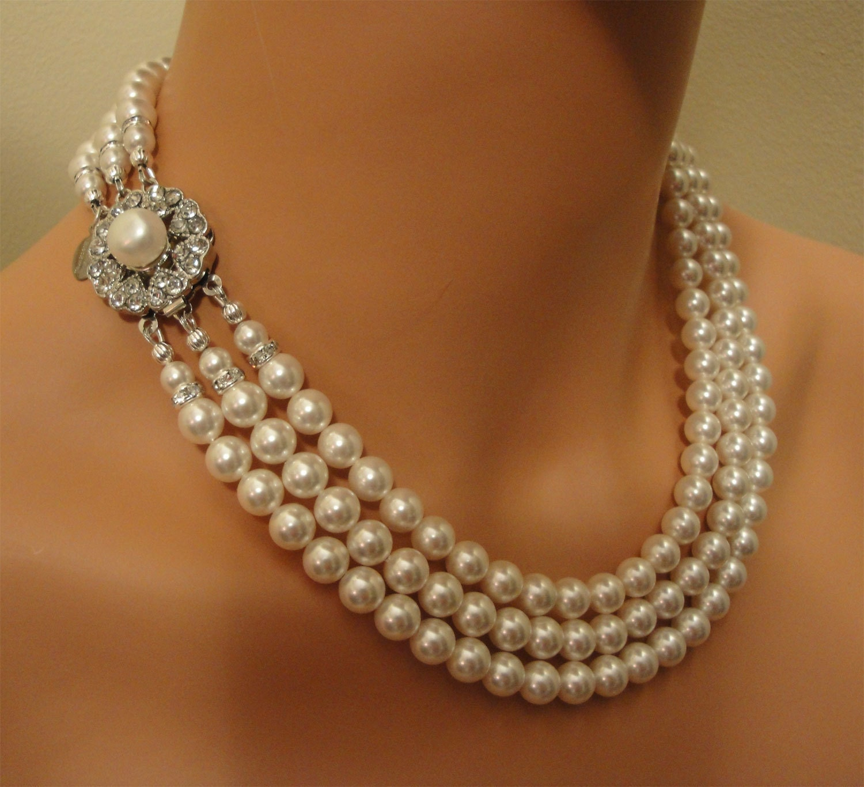 Bridal Swarovski Pearl Necklace Set By AlexiBlackwellBridal