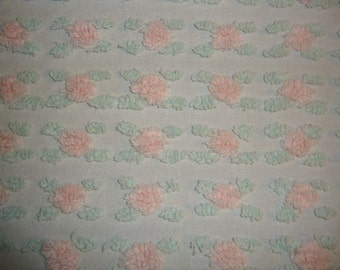"""Vintage Bedding Rose Bud Chenille Bedspread 71"""" x 107"""" Beautiful All Cotton Shabby chic cottage bedding Very pretty"""