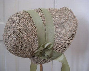 Regency/Victorian Straw Bonnet. Jane Austen. Handmade. Willow Green Trim. MADE TO ORDER