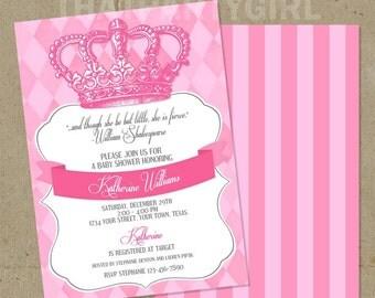 Royal Princess Baby Shower Party Invitations - DIY U Print