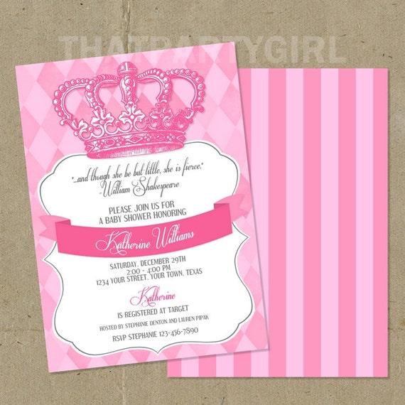 royal princess baby shower party invitations diy u print
