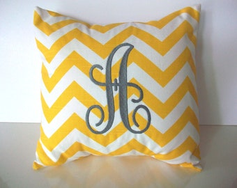 Monogrammed pillow cover, 14 x 14, yellow and white chevron