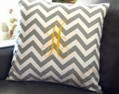 Monogrammed Pillow Chevron Pillow Cover Monogram With Insert  20 x 20 Personalized Gift Kids Room Dorm Nursery Decor House Warming Wedding