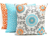 Orange Throw Pillow Covers - Set of Three Decorative Pillow Covers - Orange and Turquoise Pillow Covers - Mandarin Orange Blue on Off White