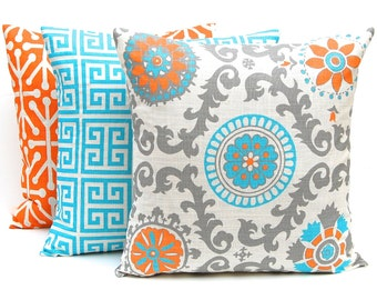 Orange Throw Pillow Covers - Set of Three Decorative Pillow Covers - Orange and Turquoise Pillow Covers - Mandarin Orange Blue on Off White