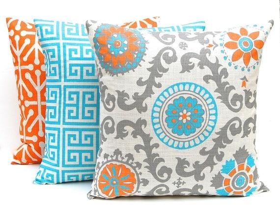 Orange Throw Pillow Covers Three Orange and Turquoise