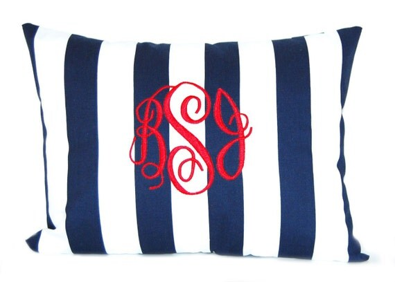 Monogrammed Pillow Navy Blue Stripe Personalized Home Decor