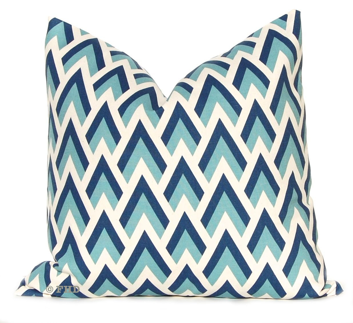 Decorative Throw Pillow Covers Navy and Aqua on Natural 20 x