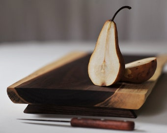 Rustic Walnut Serving Tray Footed Cutting Board