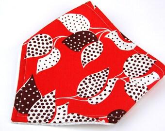 READY to SHIP! Modern Bandana Bib in Flea Market Fancy Leaf and Dot in Red by Denyse Schmidt