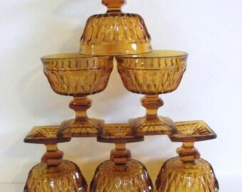 Vintage Amber Glass  Pedestal Bowls