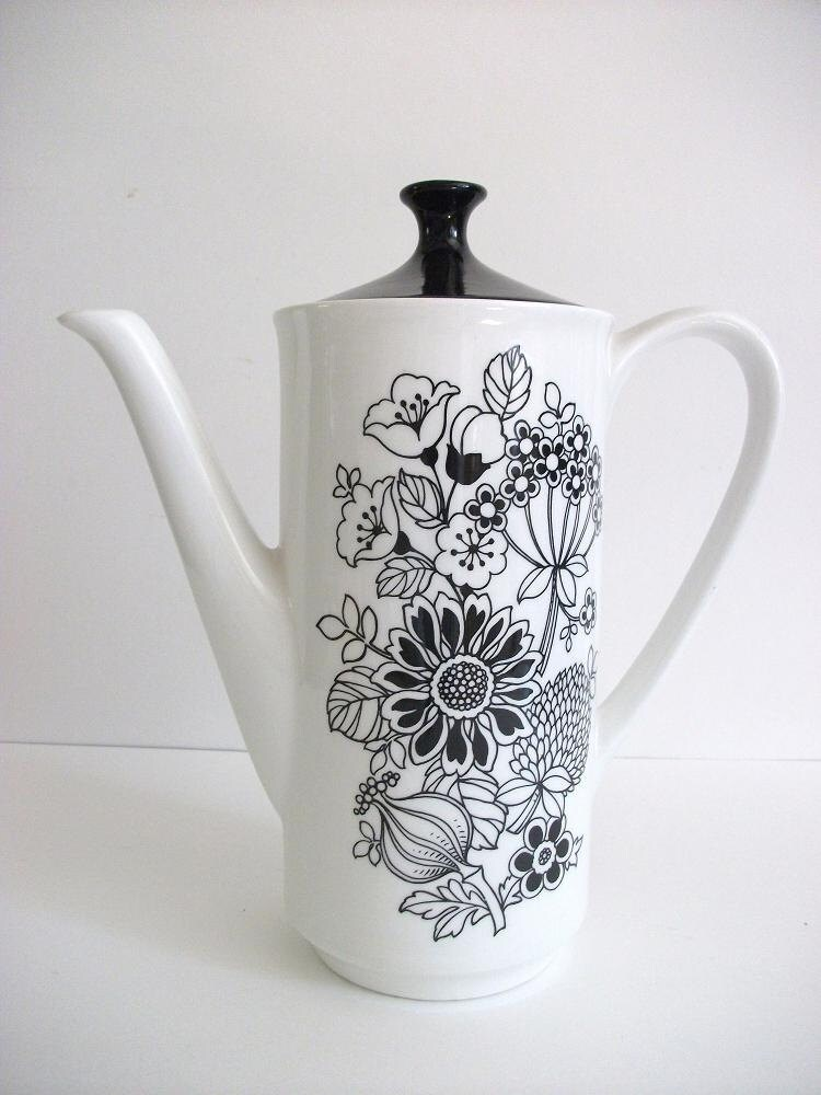 Vintage Black And White Floral Teapot
