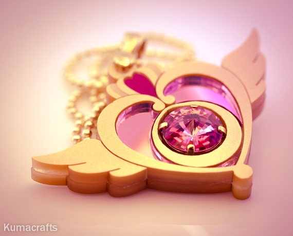 MADE TO ORDER Sailor Moon Inspired Crisis Moon Compact Necklace Pendant Laser Cut Acrylic